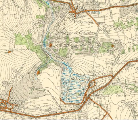Montagne de Colanhan, bij Hébronval (stafkaart 1937)
