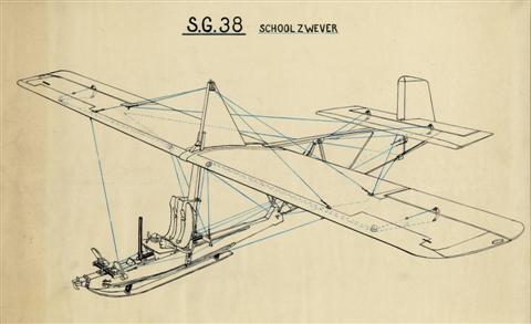 De SG-38 was één van de vele duizenden toestellen van dat type die vanaf 1938 gebouwd werden. Dit eenvoudig lestoestel had een vleugelspan van 10,45 m, een lengte van 6,30 m, een normale snelheid van 55 km/h en een daalsnelheid van 1,85 m/s. De glijhoek bedroeg 1/8,3.