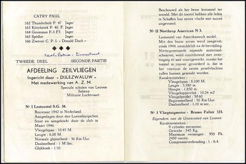 Natuurlijk waren de SG-38 en de Northrop ter plaatse. Sevenants, Vandermeulen, Verhaegen, Verbeeck, Leunis en Quintens stelden er modellen tentoon; Rik De Meulder een zelfgebouwde motor van 15cc.