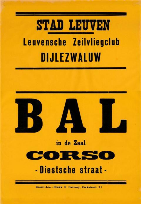 Universele affiche van de Dijlezwaluw voor de bals in zaal Corso: in het midden was plaats voorzien om met de hand de datum in te vullen. (1948)