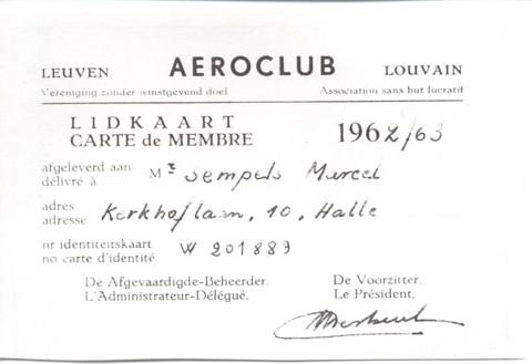 Aeroclub Leuven lidkaart van Marcel Sempels (1963)
