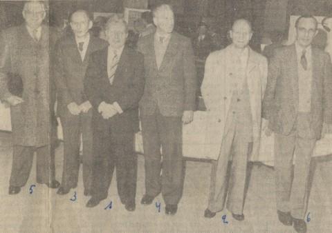 Tentoonstelling 25 jaar LUAC (Universitair Sportcentrum 28 maart 1984). V.l.n.r.: Pierre Leunis, Marcel Sempels, Pol Vandermeulen, Jan Sevenants, Frans Vranckx, Georges De Geest.