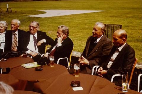 Viering 25 jaar LUAC (Zwartberg 16 juni 1984). V.l.n.r.: Miel Wolfs, Maurits Geeraerts, Pol Vandermeulen, Jan Sevenants, Marcel Sempels