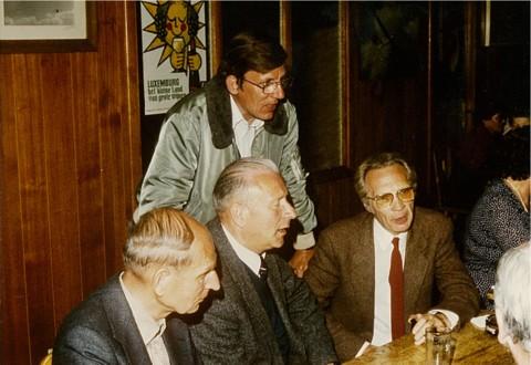 Viering 25 jaar LUAC (Zwartberg 16 juni 1984). V.l.n.r.: Marcel Sempels, Jan Sevenants, Rik Verbeeck; achteraan Paul Poinet