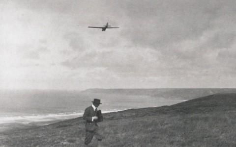 Massaux tijdens zijn recordvlucht in Vauville (26.07.1925)